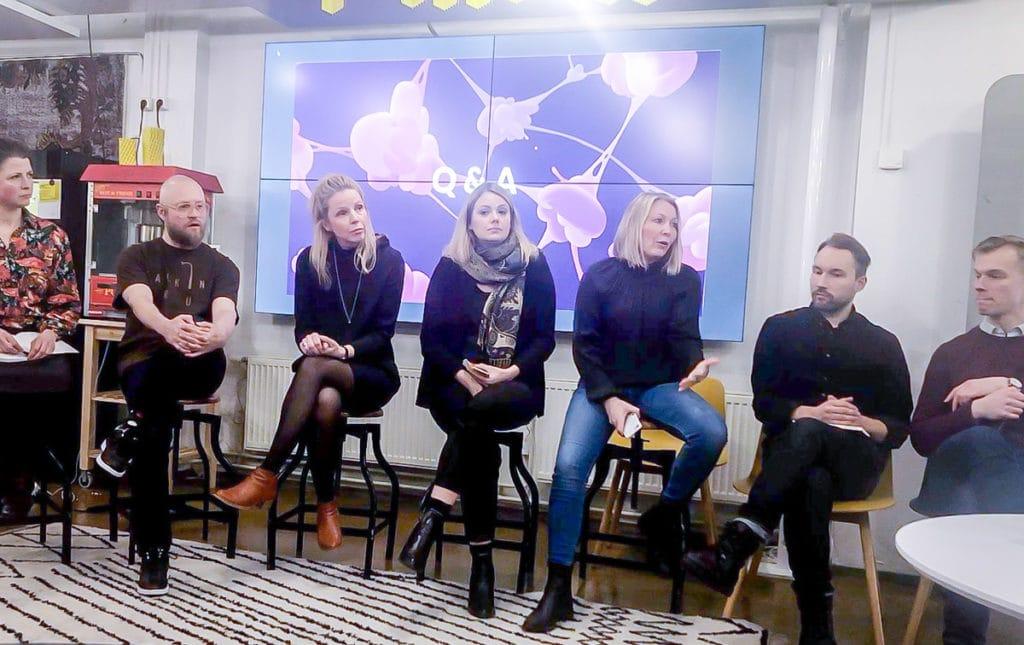 Organisaation kehittäminen luovien alojen ammattilaisten kanssa. Kuvassa Talking Drum, Nanna Hänninen, Neemo Method, Business Teatteri, Theatre Works,