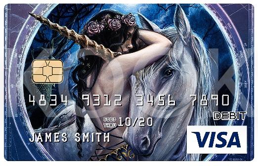 Maksukortti ja kuvituksena yksisarvinen ja keiju - Urban Rock henkiset pankkikortit erottuvat! Kook Management edustaa Alchemy Englandin kuvitus gallerioita ja yli 800 kuvateosta. #Bankcard #luottokortti #pankkikortti #debitkortti