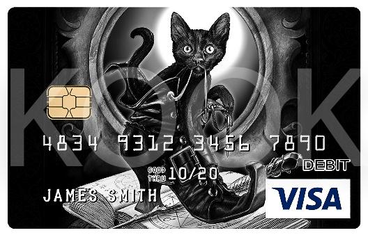 Mustakissa ja saapaskissa - Urban Rock henkiset pankkikortit erottuvat! Kook Management edustaa Alchemy Englandin kuvitus gallerioita ja yli 800 kuvateosta. #Bankcard #luottokortti #pankkikortti #debitkortti