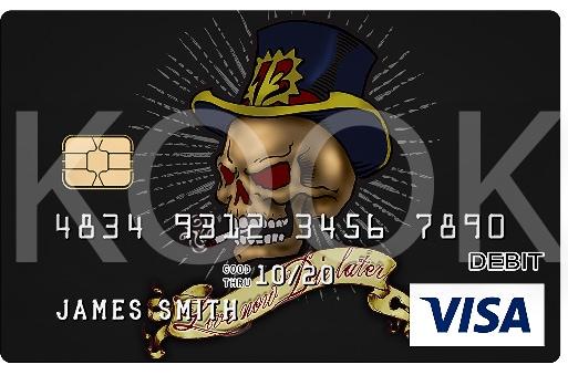 Maksukortti ja kuvituksena Pääkallo ja hattu - Urban Rock henkiset pankkikortit erottuvat! Kuvitus ja erottuva markkinointi lisensoinnin avulla, kysy Kook Managementistä lisää! #Bankcard #luottokortti #pankkikortti #debitkortti
